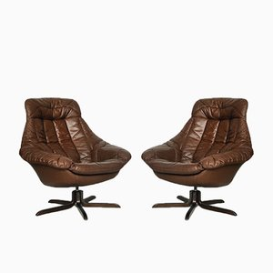 Danish Leather Chair by H. W. Klein for Bramin, 1960s, Set of 2