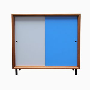 Aparador en azul y gris de nogal, años 60