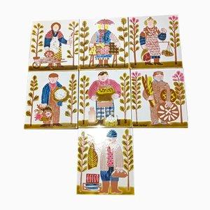 Mattonelle vintage in ceramica di Roger Capron, set di 7