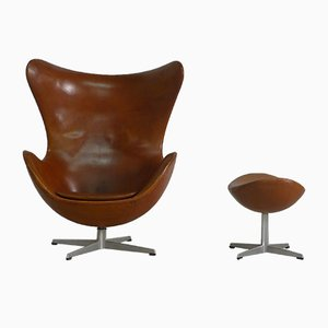 Egg Chair and Ottoman by Arne Jacobsen for Fritz Hansen, 1966
