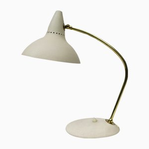 Italian Brass Table Lamp with Light Beige Ripple Finish, 1950s