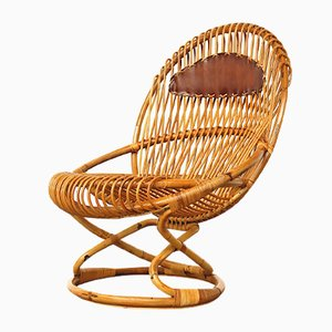 Wicker Easy Chair by Giovanni Travasa for Bonacina, 1950s