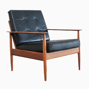 Danish Modern Leather Easy Chair, 1960s