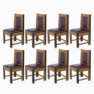 Art Deco Haager Schule Eichenholz Stühle von Randoe, 1926, 8er Set