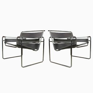 Grey Leather Wassily Chairs by Marcel Breuer, 1970s, Set of 2
