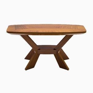 Table Basse Mid-Century en Placage avec Étagère, 1950s