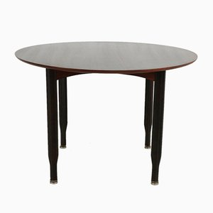 Round Italian Rosewood Dining Table, 1960s