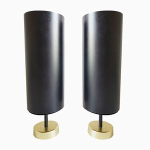 Brass & Black Metal Tube Wall Lamps, 1950s, Set of 2