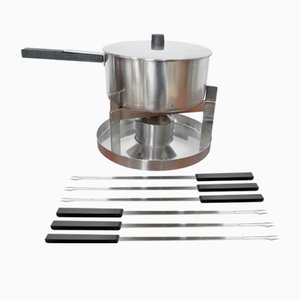 Mid-Century Danish Fondue Set by Peter Holmblad for Stelton