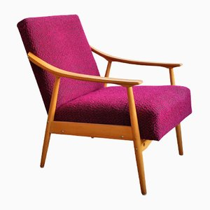 Mid-Century Armchair with Pink Fabric
