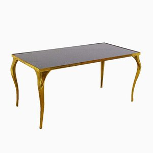 Table Basse Mid-Century en Laiton & Verre Noir