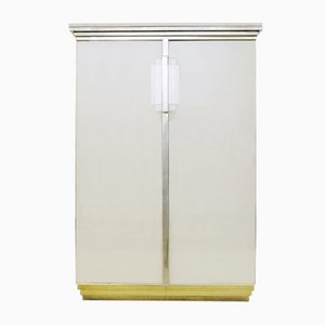 Belgian Brass, Travertine & Glass Cabinet from Belgo Chrome, 1970s