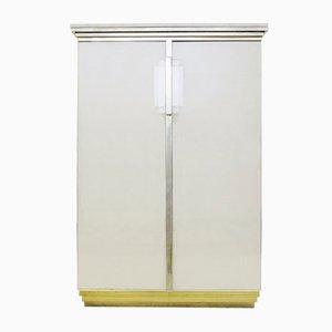 Belgischer Schrank aus Messing, Travertin & Glas von Belgo Chrome, 1970er