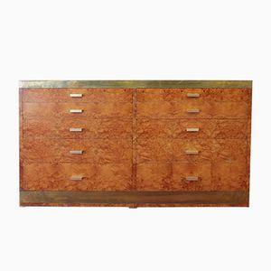 Cassettiera vintage in legno di noce e ottone