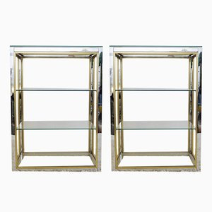Vintage Chrome & Brass Shelves, Set of 2