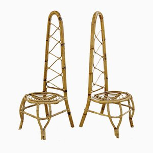 Mid-Century Rattan & Bamboo High Back Chairs, Set of 2
