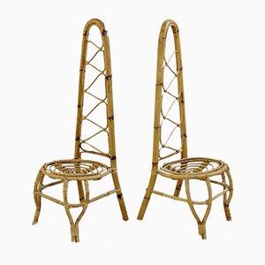 Sillas Mid-Century de bambú y ratán con respaldo alto. Juego de 2