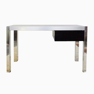 Vintage Chrome & Smoked Glass Desk
