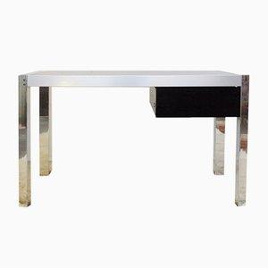 Vintage Schreibtisch aus Chrom & Rauchglas