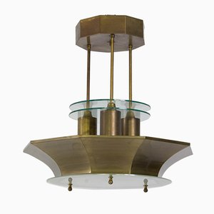 Art Deco Hague School Brass and Etched Glass Lamp, 1930s