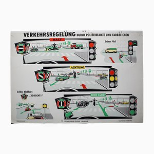 Mid-Century Driving School Wall Chart for Verlag Werner Degener