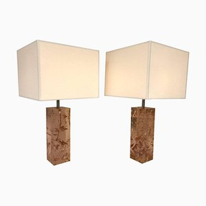 Französische Fraktale Harz Lampen, 1970er, 2er Set
