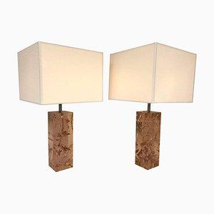 Lámparas Fractal francesas de resina, años 70. Juego de 2