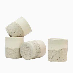 Keramik Becher aus Weißem und Gesprenkeltem Lehm von Maevo, 2017, 4er Set