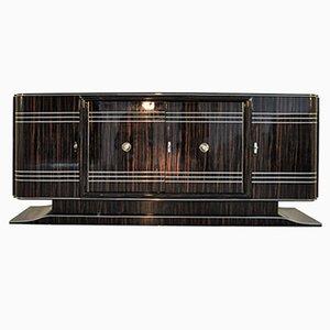 Credenza Art Deco grande impiallacciata in macassar