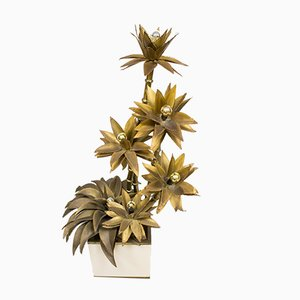 Mid-Century Brass Flower Lamp from Maison Jansen