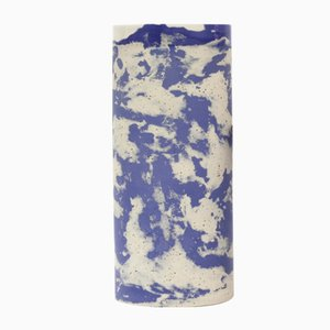 Cylinder Tall Vase in Blue and Speckled Stoneware by Maevo, 2017