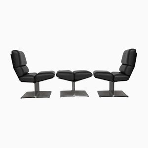 Lounge Chairs and Ottoman by Paul Geoffroy for Uginox, 1970s, Set of 3