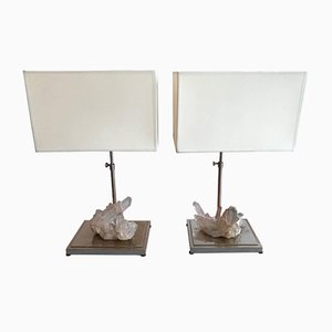 Lampes Rock en Cristal Quartz, 1970s, Set de 2
