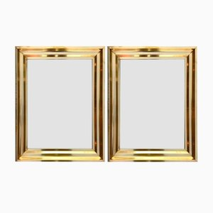 French Brass Mirrors, 1970s, Set of 2