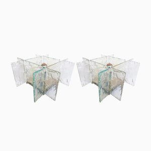 Italienische Murano Glas Tischlampen von Carlo Nason für Mazzega, 1970er, 2er Set