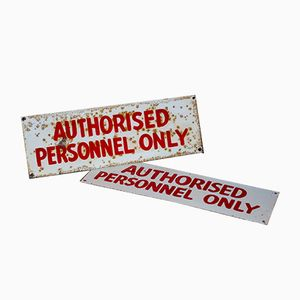 Vintage Hand Painted Factory Signs, Set of 2