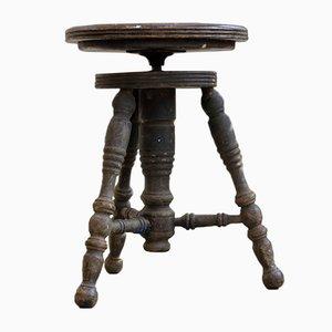 Antique Oak Piano Stool from Tonk