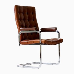 Mid-Century Brown Leather RH-304 Cantilever Chair by Robert Haussmann for de Sede