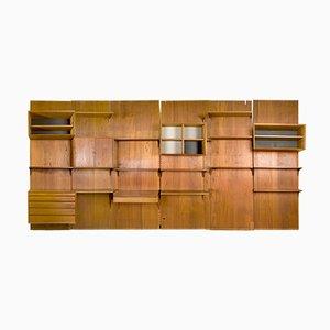 Mueble de pared modular de teca de Poul Cadovious, años 50