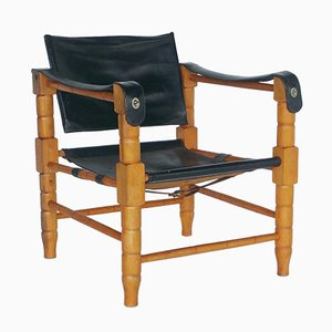 Black Leather Safari Chair, 1960s