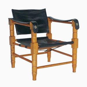 Safari Stuhl aus schwarzem Leder, 1960er
