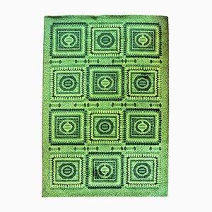 Alfombra vintage verde con mosaico, años 70