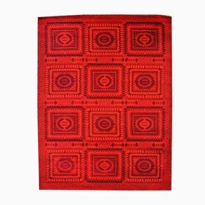 Roter Vintage Mosaik Teppich, 1970er