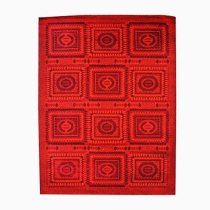 Tappeto vintage a mosaico rosso, anni '70