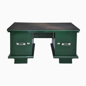 Vintage Jaguar Racing Green Art Deco Desk