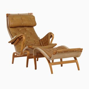 Pernilla Lounge Chair with Ottoman by Bruno Mathsson for Dux, 1970s