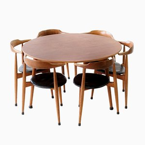 Vintage Heart Chair Dining Set by Hans J. Wegner for Fritz Hansen