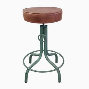 Vintage Adjustable Swivelling Iron Stool