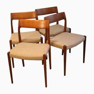 Chaise Modèle 77 Vintage par Niels Møller pour J.L. Møllers, Set de 4
