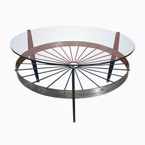 Mesa de centro italiana de vidrio y latón, años 60